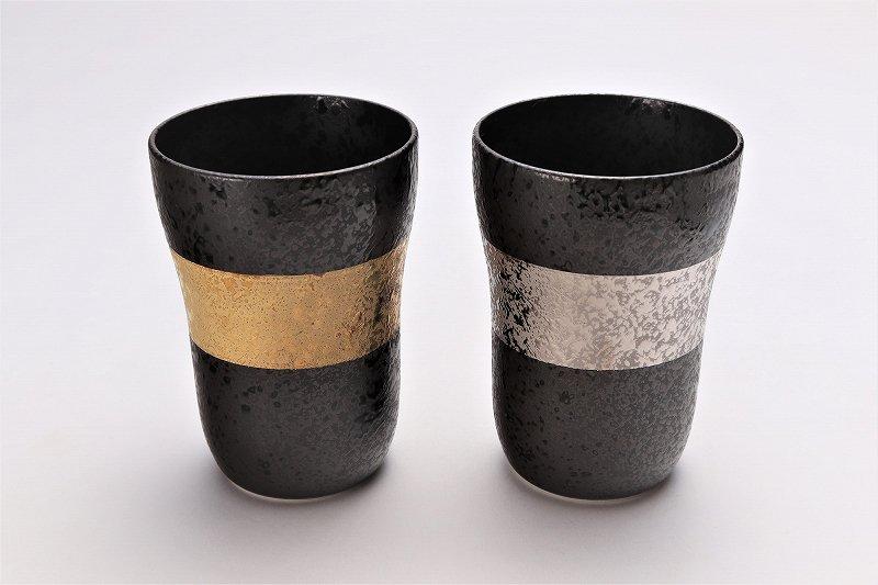 親峰窯 焼き締め金帯・銀帯 ペアフリーカップ 在庫3個 画像メイン
