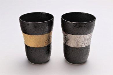 ☆親峰窯 焼き締め金帯・銀帯 ペアフリーカップ 在庫3個