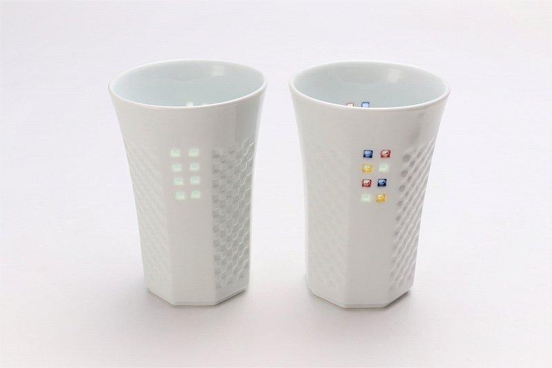 丹心窯 水晶スクエア・カラースクエア フリーカップ 在庫2組 画像メイン