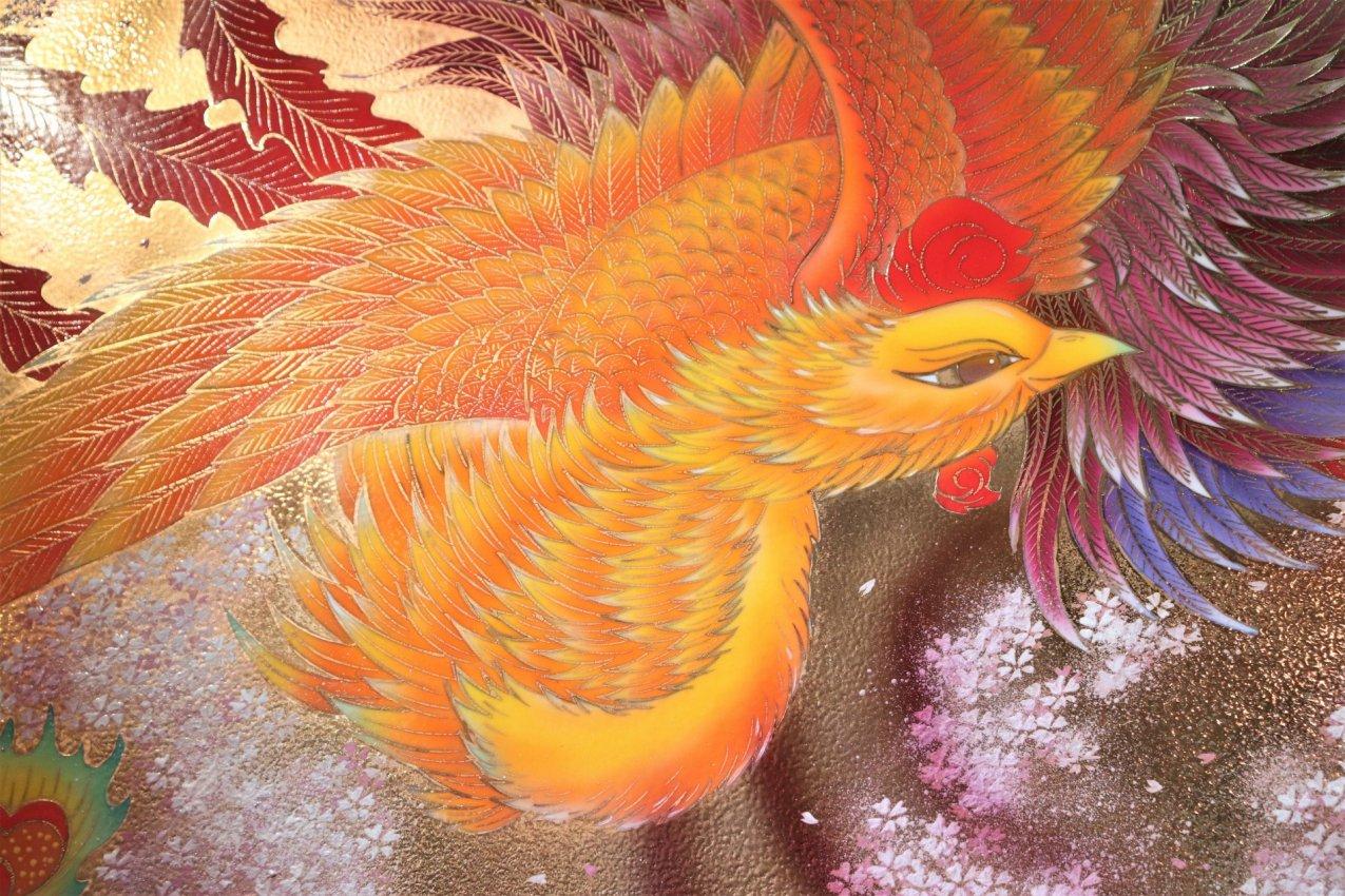 金龍窯 鳳凰図三ツ切陶額 画像サブ1
