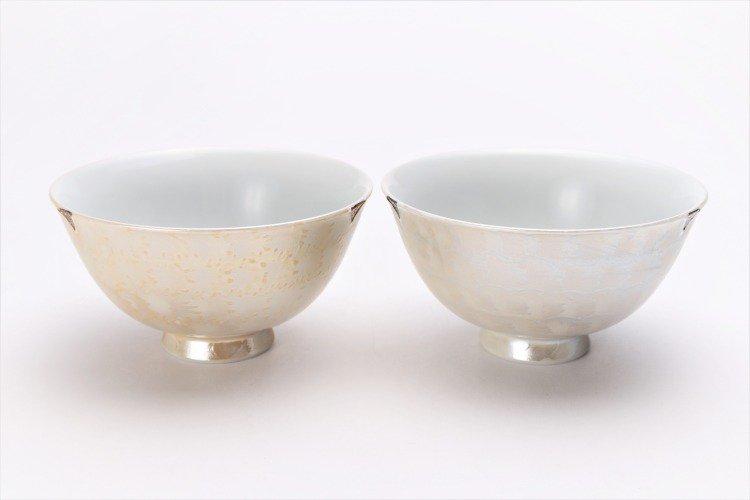 楽々シリーズ ラスターゴールド・シルバー ペア茶碗 (化粧箱入り) 画像メイン