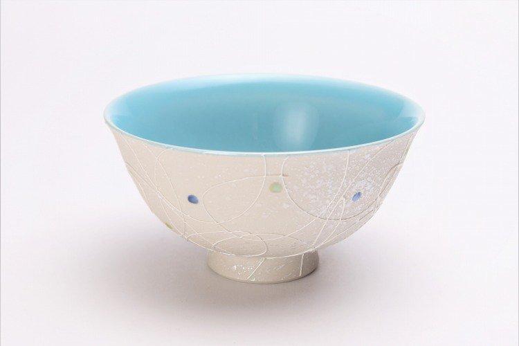 楽々シリーズ 色しずく(内ブルー・ピンク) ペア茶碗 (化粧箱入り) 画像サブ1