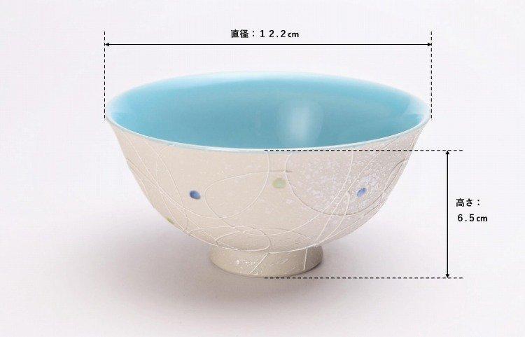 楽々シリーズ 色しずく(内ブルー・ピンク) ペア茶碗 (化粧箱入り) 画像サブ6