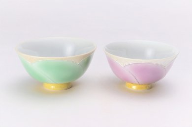 ☆楽々シリーズ パールラスター花車 ペア茶碗 (化粧箱入り)