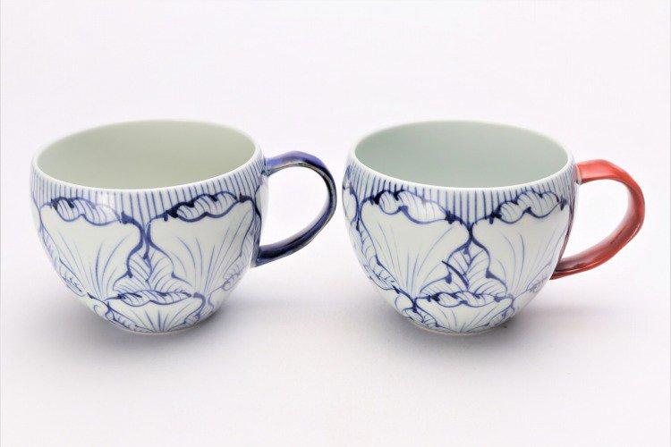 ☆そうた窯 染付花弁紋 ペア丸スープカップ 画像メイン