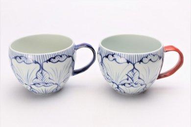 ☆そうた窯 染付花弁紋 ペア丸スープカップ