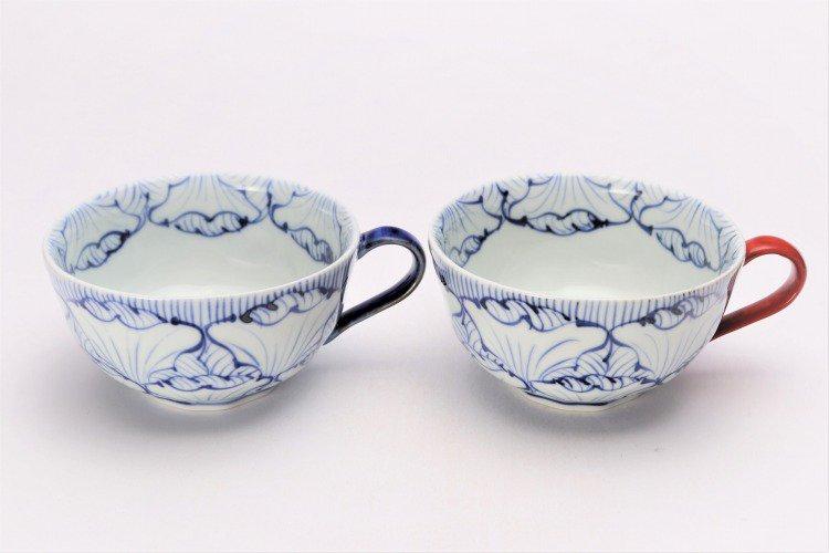 ☆そうた窯 染付花弁紋 ペアスープカップ 画像メイン