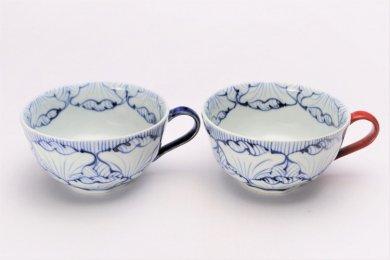 ☆そうた窯 染付花弁紋 ペアスープカップ