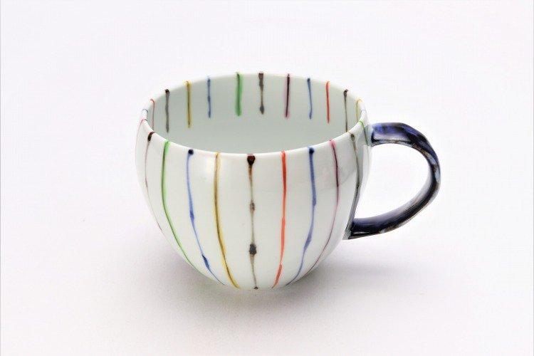 ☆そうた窯 染錦線十草 ペア丸スープカップ 画像サブ1
