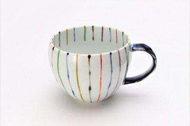 ☆そうた窯 染錦線十草 丸スープカップ(青)