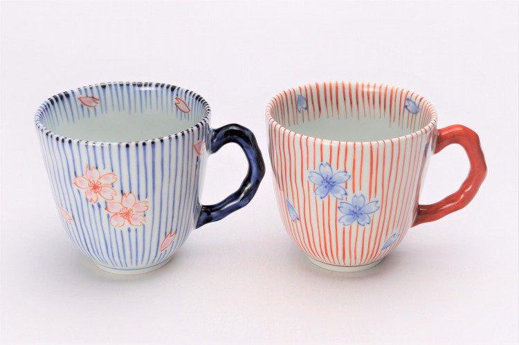 ☆そうた窯 染錦十草桜 ペアマグカップ 画像メイン