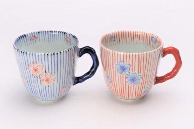 ☆そうた窯 染錦十草桜 ペアマグカップ