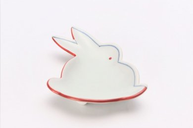 伝平窯 赤濃染折紙 うさぎ型銘々皿