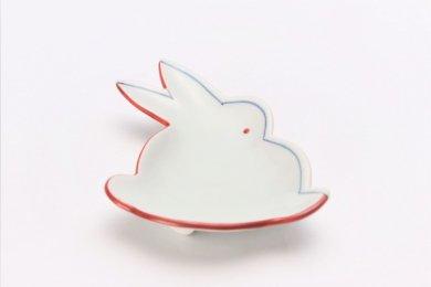 ☆伝平窯 赤濃染折紙 うさぎ型銘々皿