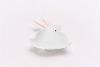 ☆伝平窯 白マット紅耳(赤目) うさぎ豆小皿