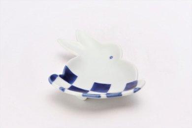 ☆伝平窯 染市松 うさぎ型銘々皿