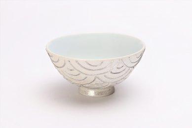 楽々シリーズ 錦プラチナ青海波 ミニ茶碗 (化粧箱入り)