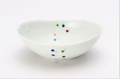 一峰窯 色玉帯 楕円浅小鉢