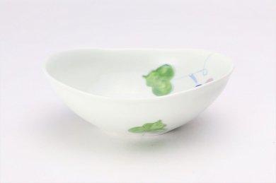 一峰窯 彩ぶどう 楕円浅小鉢