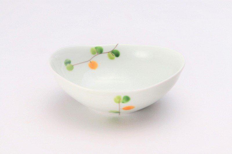 一峰窯 オリーブ(橙) 楕円小鉢 在庫1個 画像メイン