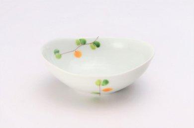 一峰窯 オリーブ(橙) 楕円小鉢