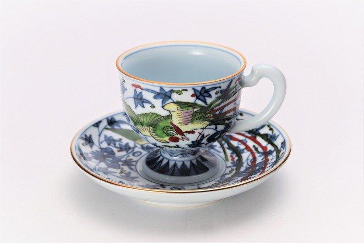 亮秀窯 錦鳳凰唐草 コーヒー碗皿 画像メイン