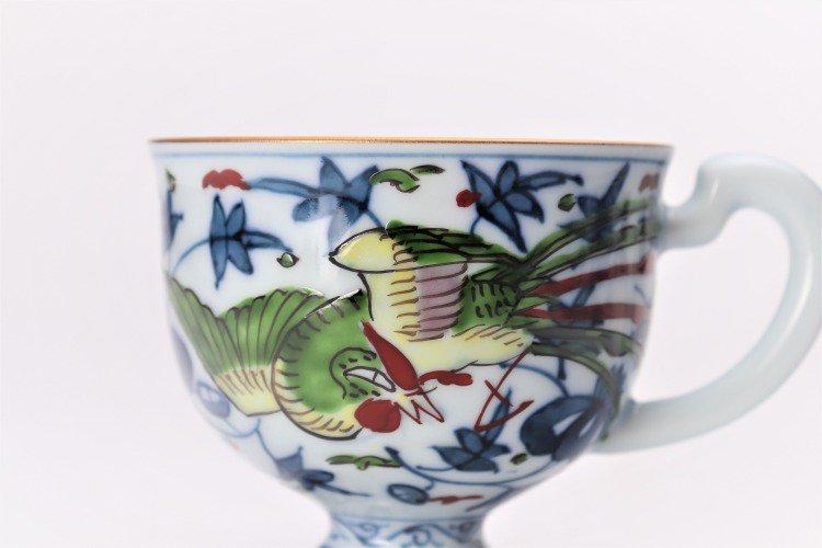 亮秀窯 錦鳳凰唐草 コーヒー碗皿 画像サブ4