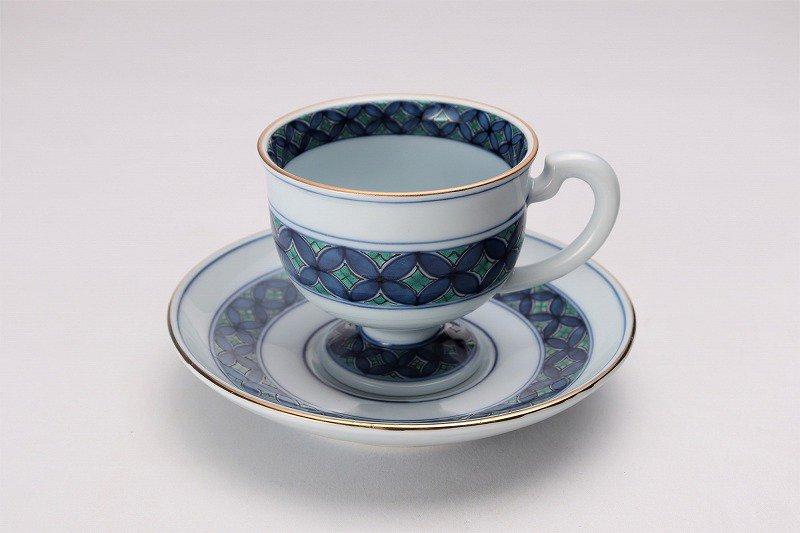 亮秀窯 緑彩七宝 高台コーヒー碗皿 画像メイン