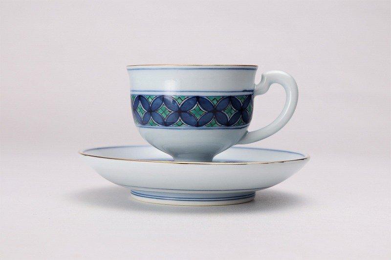 亮秀窯 緑彩七宝 高台コーヒー碗皿 画像サブ1