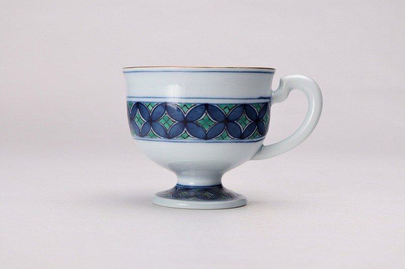 亮秀窯 緑彩七宝 高台コーヒー碗皿 画像サブ2