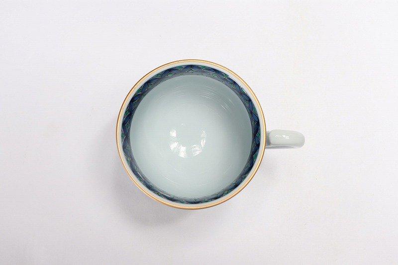 亮秀窯 緑彩七宝 高台コーヒー碗皿 画像サブ4