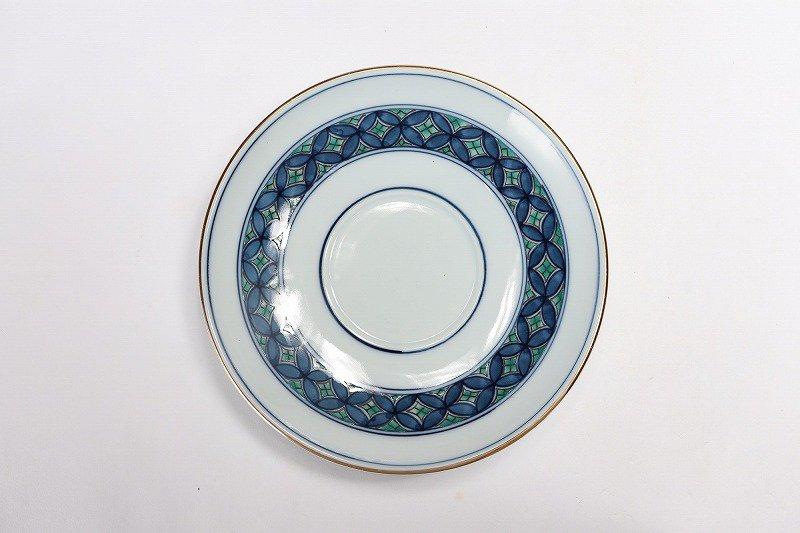 亮秀窯 緑彩七宝 高台コーヒー碗皿 画像サブ5