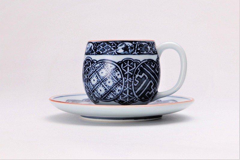 亮秀窯 染付祥瑞丸紋 丸型碗皿 画像サブ1