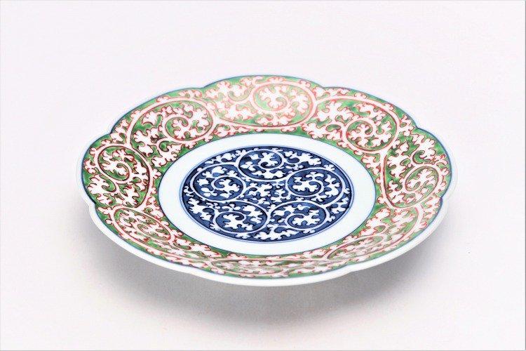 亮秀窯 緑濃唐草 6寸輪花皿 画像メイン