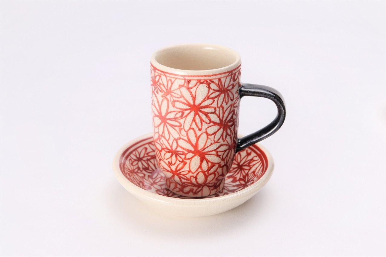 喜鶴製陶 花詰筒型マグカップC/S(赤) 在庫9個