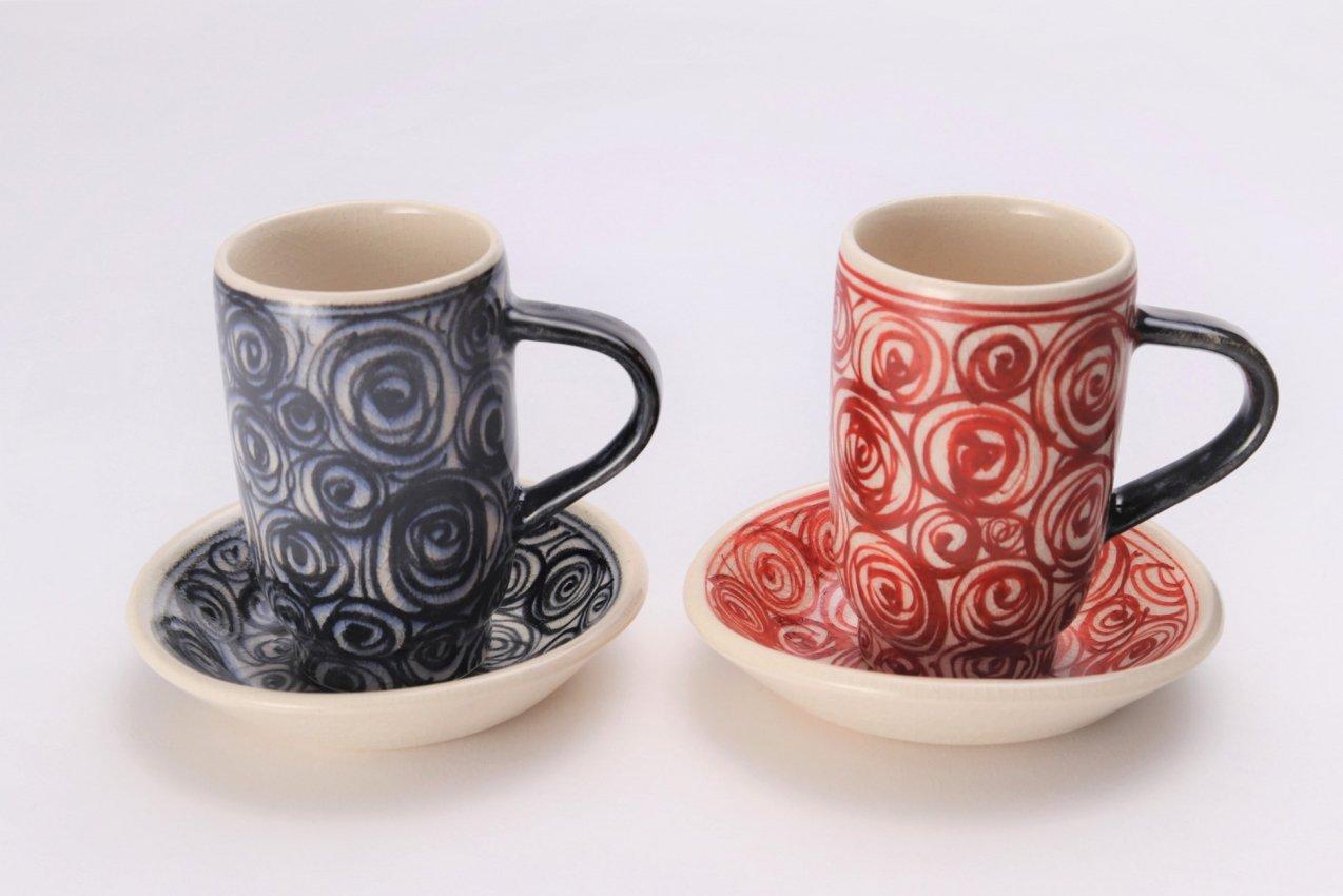 喜鶴製陶 渦紋筒型マグカップC/Sペア 在庫7個