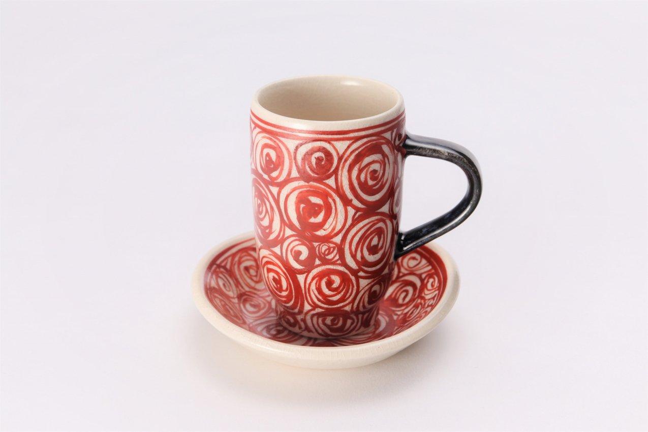 喜鶴製陶 渦紋筒型マグカップC/S(赤) 在庫7個