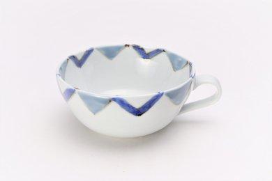 徳七窯 菱紋(グレー) スープ碗