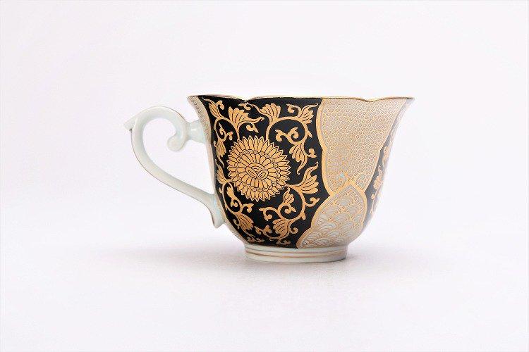 徳幸窯 黒地金彩菊華紋紅茶碗 画像サブ5