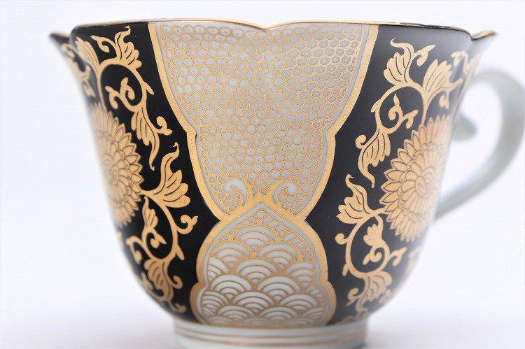 徳幸窯 黒地金彩菊華紋紅茶碗 画像サブ7