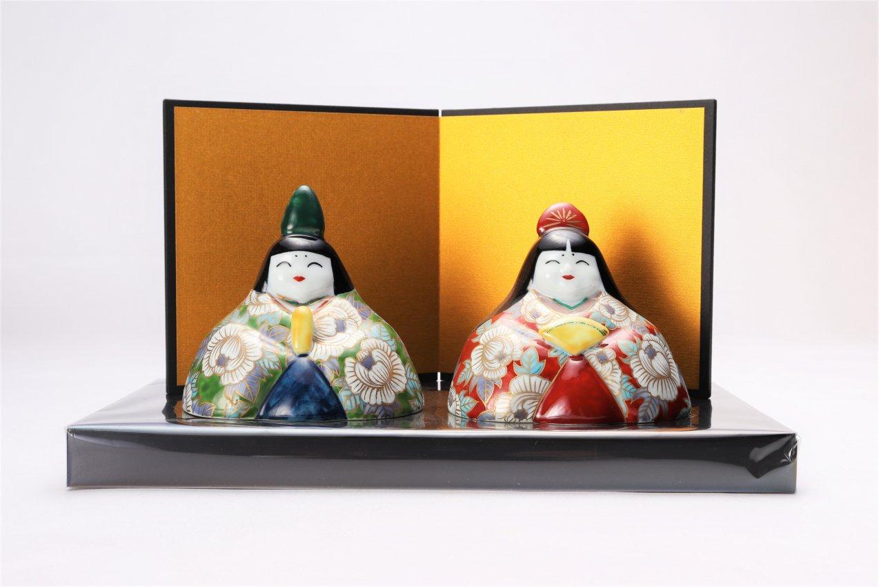 古鈴陶芸社 特丸ひな人形(牡丹)(屏風・台付)