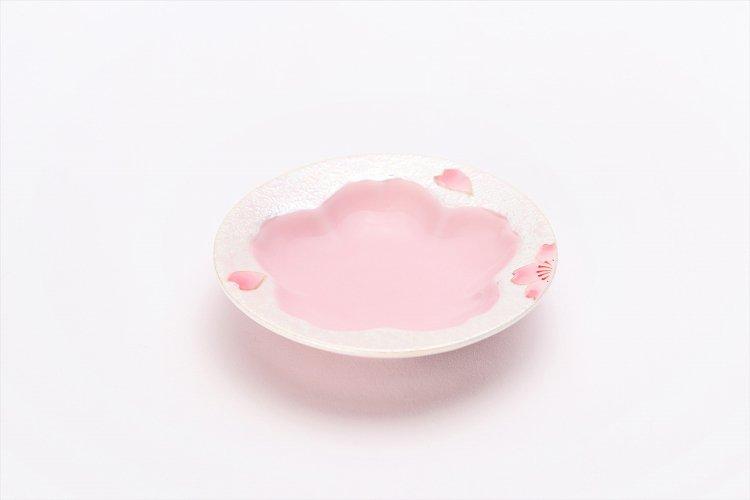 田清窯 薄ピンク釉虹彩桜 茶器セット(プレート付)  画像サブ11