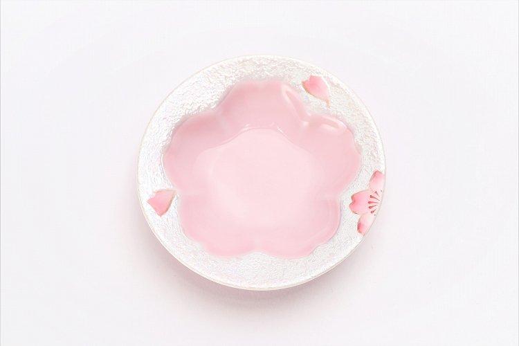 田清窯 薄ピンク釉虹彩桜 茶器セット(プレート付)  画像サブ13