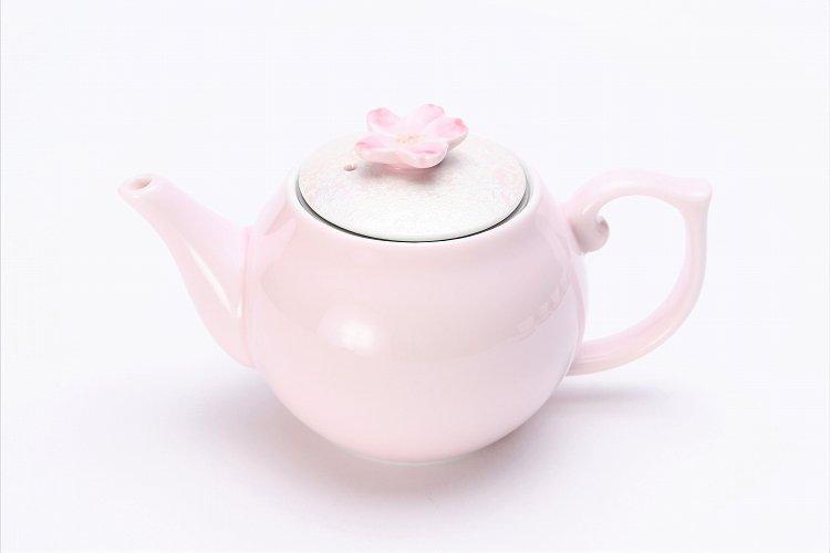 田清窯 薄ピンク釉虹彩桜 茶器セット(プレート付)  画像サブ17