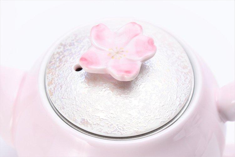田清窯 薄ピンク釉虹彩桜 茶器セット(プレート付)  画像サブ21