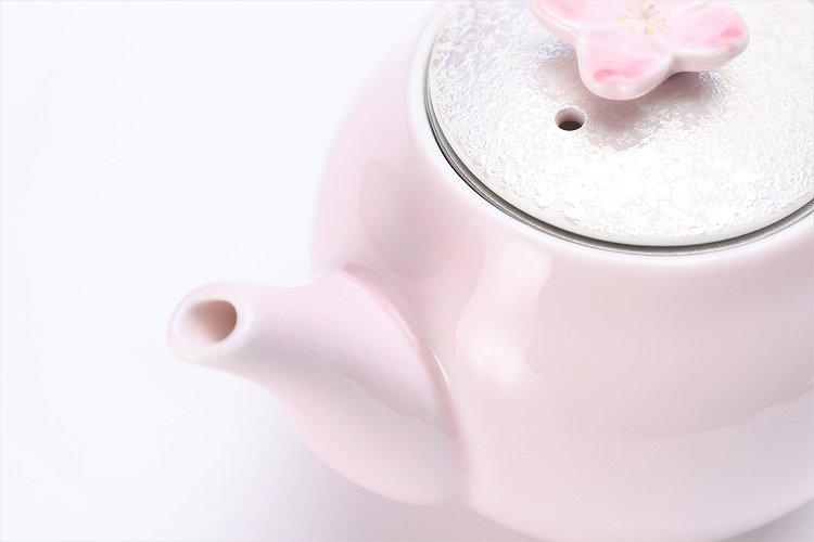 田清窯 薄ピンク釉虹彩桜 茶器セット(プレート付)  画像サブ22