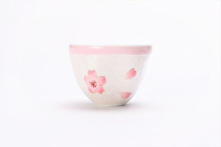 田清窯 薄ピンク釉虹彩桜 茶器セット(プレート付)  画像サブ6