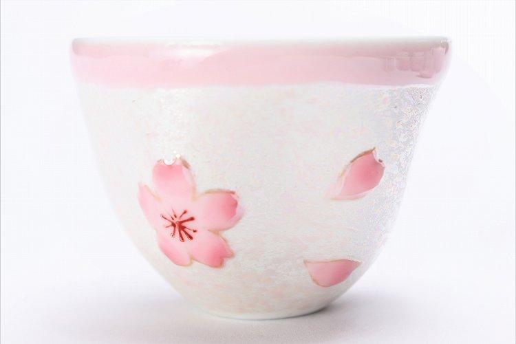 田清窯 薄ピンク釉虹彩桜 茶器セット(プレート付)  画像サブ7