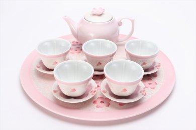 田清窯 薄ピンク釉虹彩桜 茶器セット(プレート付)