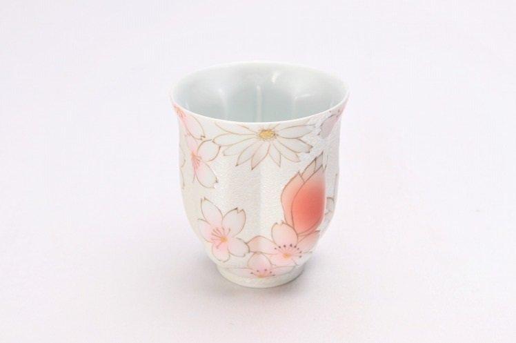 ☆田清窯 チェリーブラッサム(赤) 桜湯呑 画像メイン